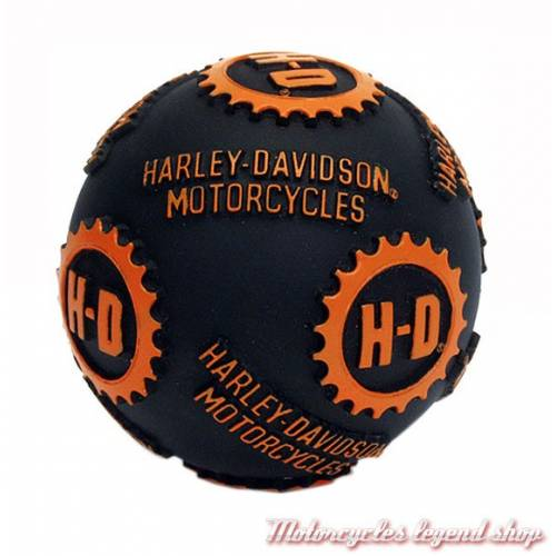 Balle de jeu pour chien, plastique souple, noir et orange, Harley-Davidson V07DOG