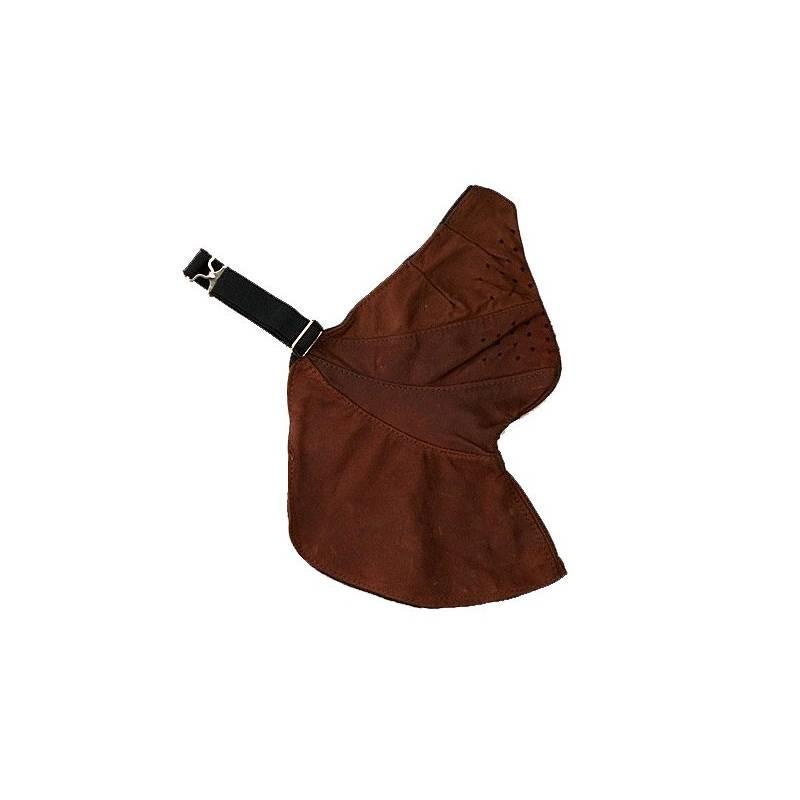 Masque cuir, marron, doublé coton, fixation réglable, Davida 24073