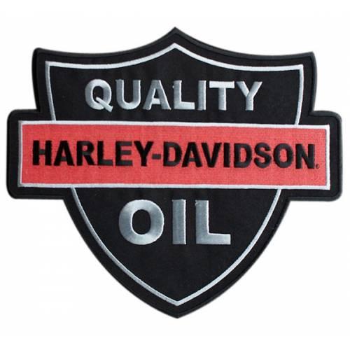 Patch HD Oil Quality, brodé, grand modèle, noir, orange, Harley-Davidson EM1160306