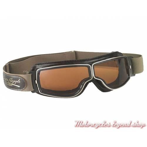 """Lunettes """"Aviator Goggle"""" mixte, marron vieilli, oculaire fumé, large elastique réglable, Leon Jeantet T2MVDB"""