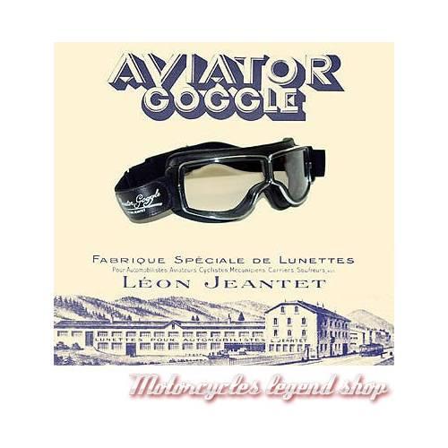 """Lunettes """"Aviator Goggle"""" mixte, marron vieilli, oculaire incolore, large elastique réglable, Leon Jeantet T2MVDI"""