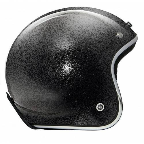 Casque jet Carbon Legend flake noir, intérieur alcantara, GPA 37009
