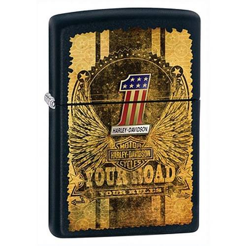 Zippo H-D Number 1, noir métal, Bar & Shield ailé, impression vieillie, 80Z982