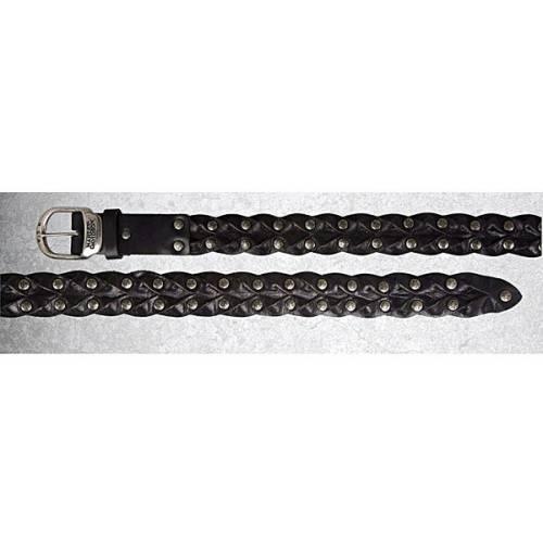 Ceinture Intersection homme, cuir noir tressé, rivets métal, boucle amovible, Harley-Davidson HDMBT10321