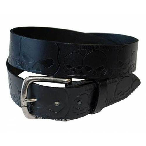 Ceinture Muscle Up homme, cuir noir, skull Willie G., boucle amovible, Harley-Davidson HDMBT10614