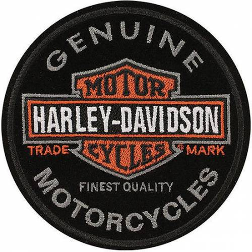 Patch Bar & Shield, brodé, circulaire, noir, gris, orange, Harley-Davidson EM312642