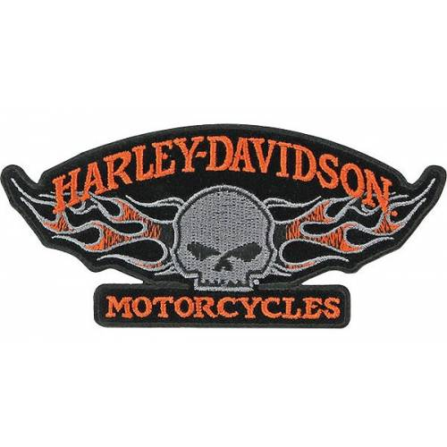 Patch Skull Flames, Willie G., brodé, Harley-Davidson EM1646423