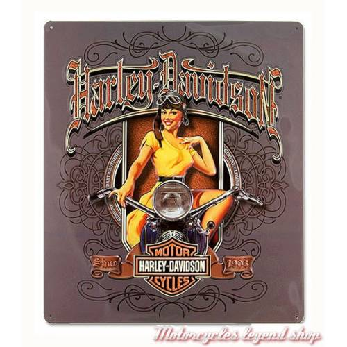 Plaque métal Old Scroll Babe Harley-Davidson