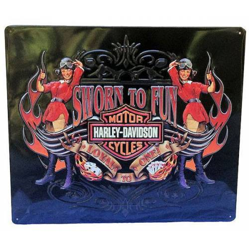 Plaque métal Sworn to Fun Babes Harley-Davidson
