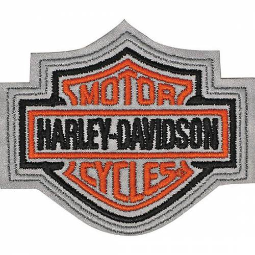 Patch Bar & Shield orange réfléchissant, brodé, taille medium, Harley-Davidson EMN302643