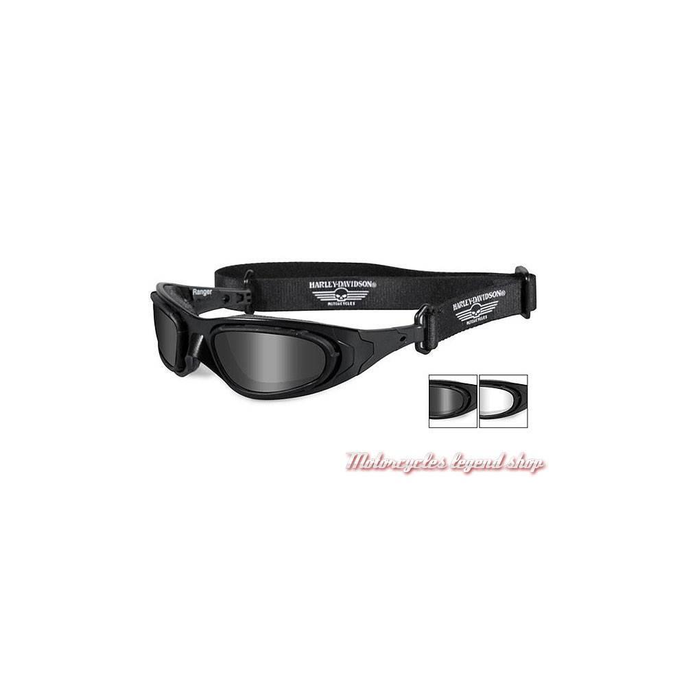 Lunettes Ranger 2 optiques, blanc et fumé, homme, sangle amovible, coupe vent, Harley-Davidson HDRAN01