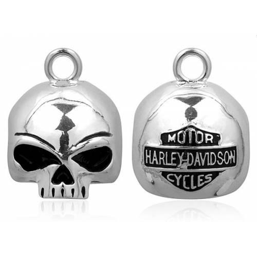 Clochette Willie G Skull, ronde, métal argenté, Harley Davidson HRB020