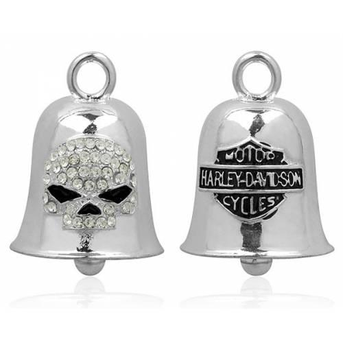 Clochette Crystal Willie G Skull, féminin, strass blancs, métal argenté, Harley Davidson HRB027
