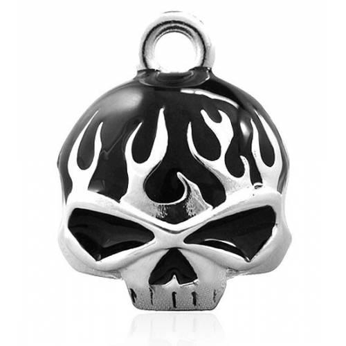 Clochette Black Flame Skull, ronde, métal argenté, Harley Davidson HRB039
