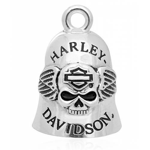 Clochette H-D Skull and Wing, Wille G., métal argenté, Harley-Davidson HRB045
