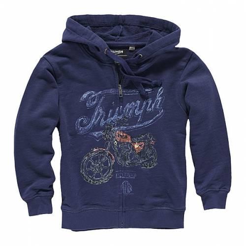 Sweatshirt Baby Todd, à capuche, zippé, bleu navy, vintage, Triumph MJWS15079