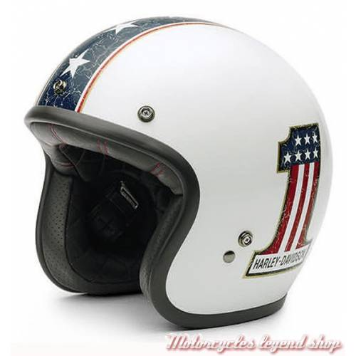 Casque Jet Americana Retro mixte, blanc brillant, Number One, Harley-Davidson EC-98311-15E