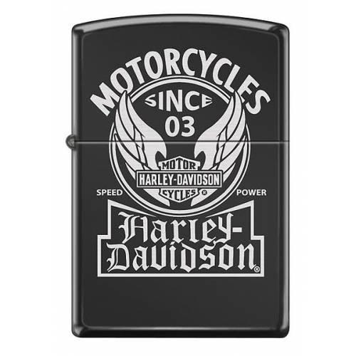 Zippo essence Harley-Davidson Ebony, métal noir, Bar & Shield ailé, 60000709