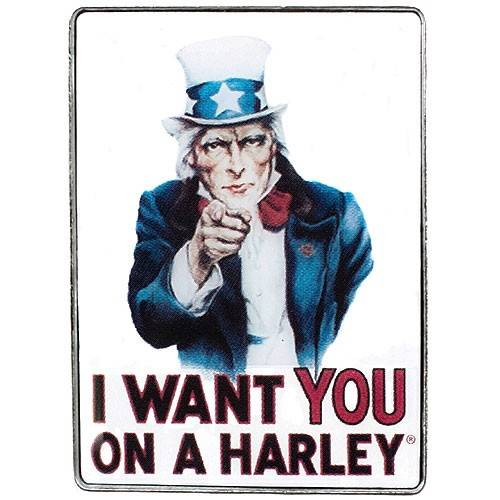 Pin's I want you on a Harley, couleur, Oncle Sam, Harley-Davidson 104530