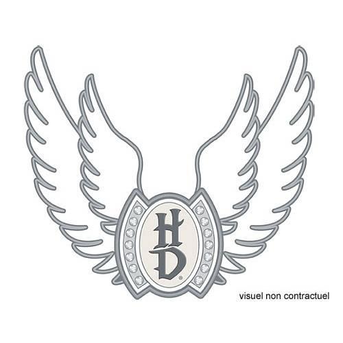 Pin's Wings Bling, métal, argenté, ajouré, strass, féminin, Harley-Davidson 199213