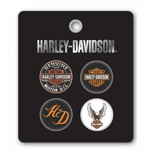 Set de 4 badges H-D, type broches, Harley-Davidson 168219