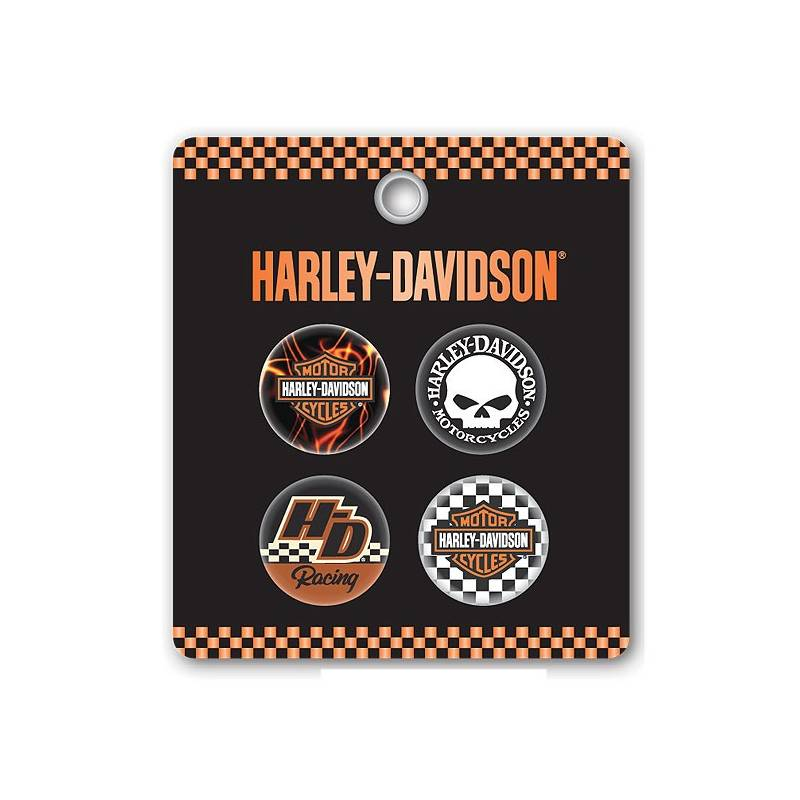 Set de 4 badges H-D, type broches, Harley-Davidson 170423