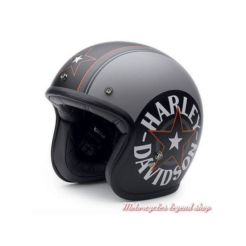 Casque Jet Grey Star Retro Harley Davidson Motorcycles Legend Shop