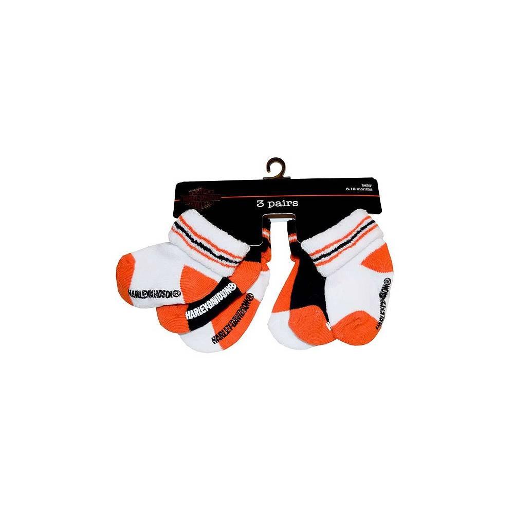 Chaussettes bébé garçon, 6-12 mois, coton, orange, blanc, noir, Harley-Davidson S9ABI63HD