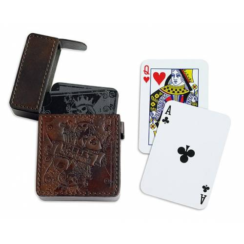 Jeu de 54 cartes, étui cuir marron Black Label, King skull, Harley-Davidson 96898-15V