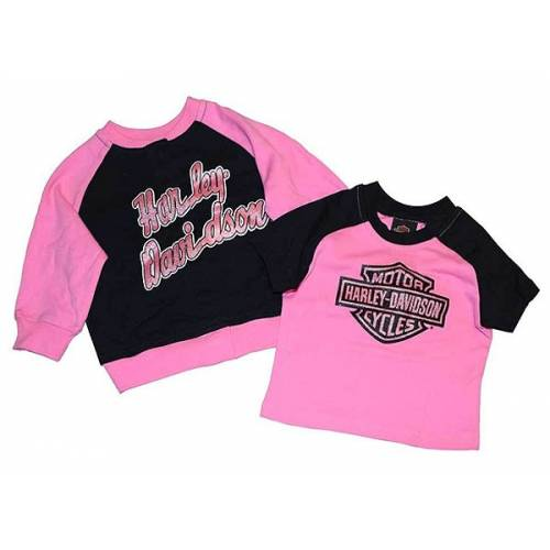 Ensemble sweat et tee-shirt bébé fille, coton, rose, noir, Harley-Davidson 0302402