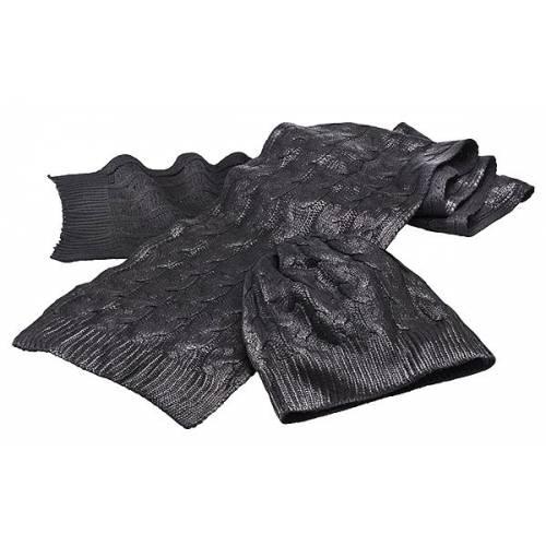 Ensemble bonnet et echarpe femme, noir métallisé, tricoté, acrylique, Triumph MSCA15315