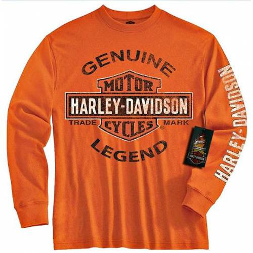 Tee-shirt Genuine Legend enfant, manches longues, orange, coton, Harley-Davidson