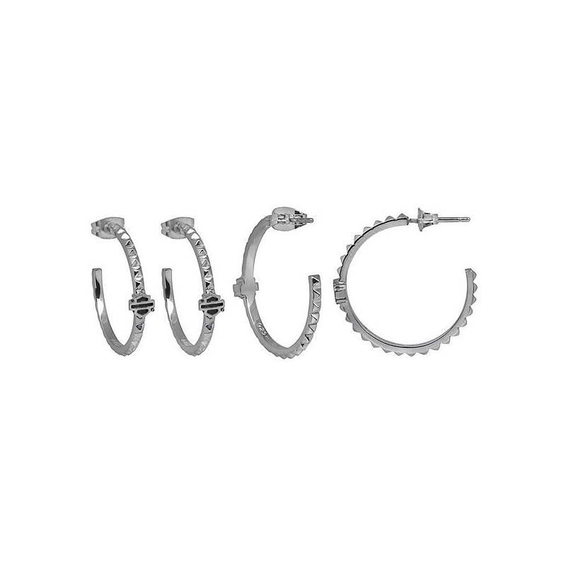 Boucles d'oreilles anneau Bar & Shield femme, 25mm, argent, Harley-Davidson HDE0341