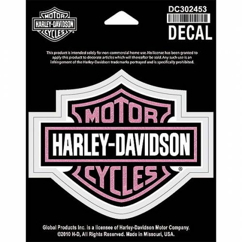 Sticker Bar & Shield rose pailleté, taille moyenne, Harley-Davidson DC302453