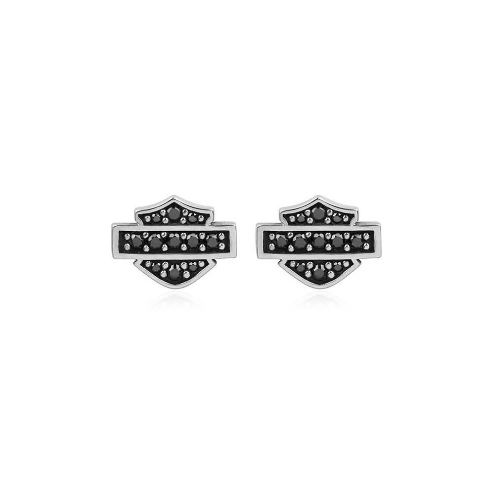 Boucles d'oreilles Bar & Shield Bling femme, argent, pierres noires, Harley-Davidson HDE0281