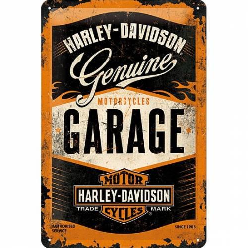 Plaque métal H-D Garage, 20 x 30 cm, rétro, Harley-Davidson 22238