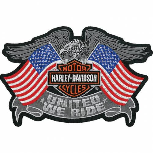Patch United We Ride, aigle, drapeaux US, Bar & Shield, brodé, Harley-Davidson EM125844