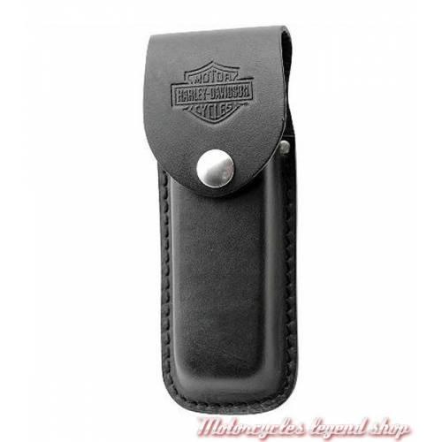 Couteau Case Hammerhead, label XX, acier, manche synthétique noir et laiton, made USA, étui cuir, Harley-Davidson 52094