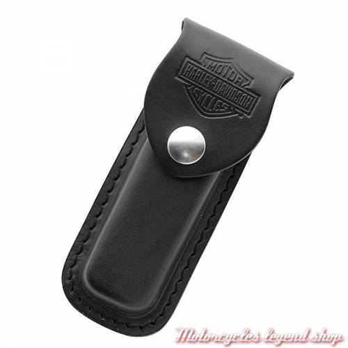 Etui couteau Medium, cuir noir, Harley-Davidson 52099