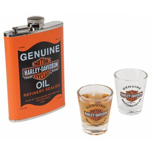 Ensemble Flasque Oil Can, 20 cl, 2 verres à liqueur, Harley-Davidson HDL-18557