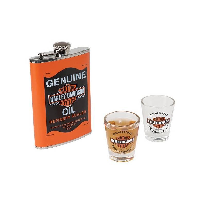 Ensemble Flasque Oil Can, 20 cl, 2 verres à liqueur, Harley-Davidson HDL-18557