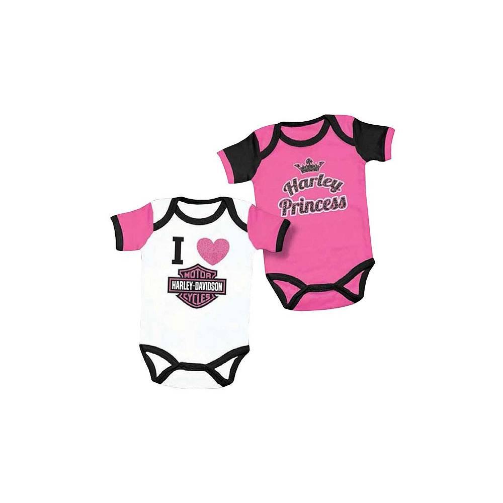 Lot de 2 bodies Harley fille, coton, noir, rose, blanc manches courtes, Harley-Davidson 3000557