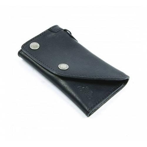 Portefeuille cuir Noir, pressions, vintage, Helston's 20150005N