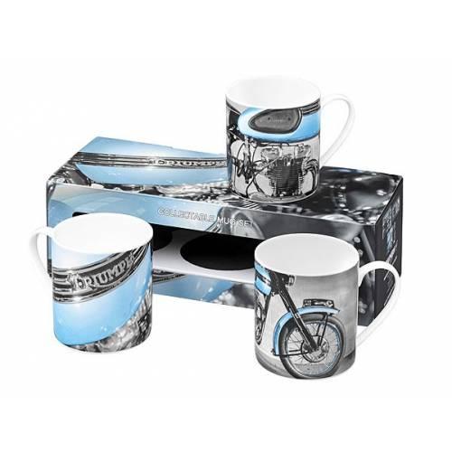 Pack 3 mug porcelaine, bleu, noir et blanc, vintage, Triumph MMUS16334