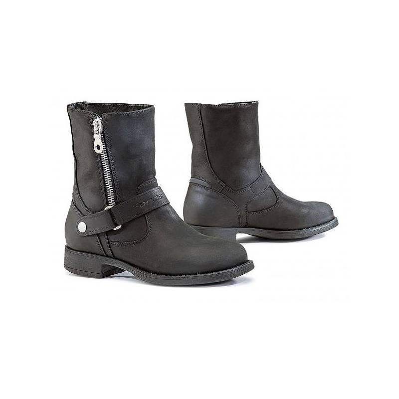 Bottines Eva femme technique, waterproof, zippées, cuir noir huilé, Forma 179d20f417c0