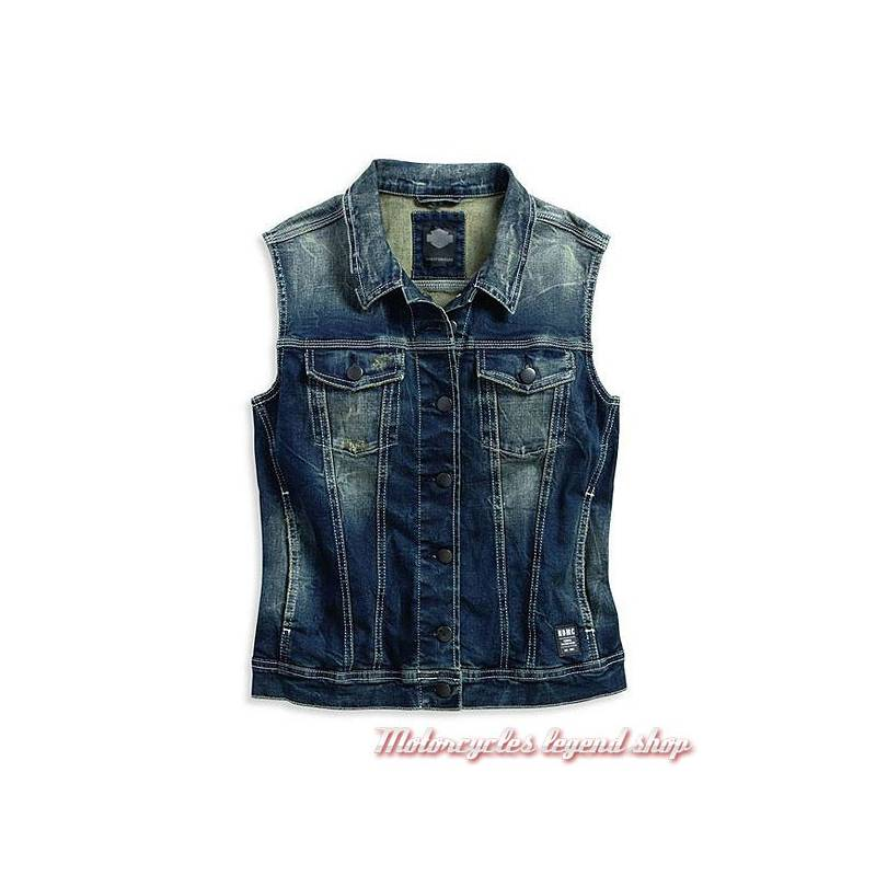 bd4e6fde6726 Veste jean sans manche Black Label Harley-Davidson - Motorcycles Legend shop