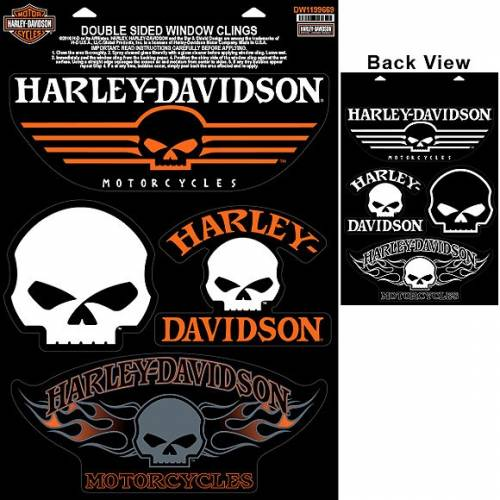 4 Stickers de vitre Skull Willie. G., double face, Harley-Davidson DW1199669