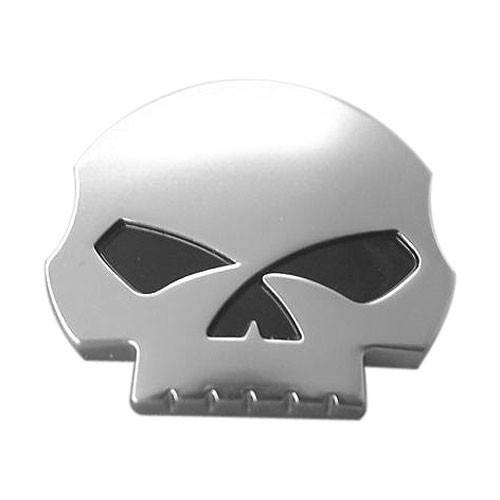 Sticker Skull willie G., métal chrome mat, relief, autocollant, Harley Davidson 14100228