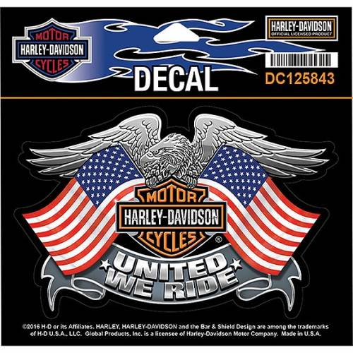 Sticker United We Ride, aigle, drapeaux US, Bar & Shield, Harley-Davidson DC125843