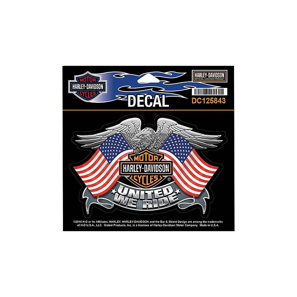 Sticker United We Ride, aigle, drapeaux US, Bar & Shield, Harley-Davidson DC125843